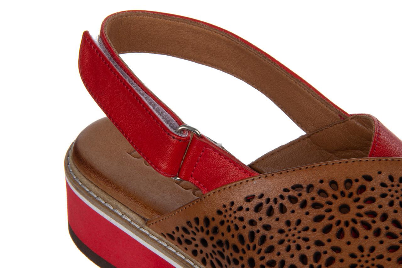 Sandały bayla-161 105 2014 coconut red 161212, czerwony/ brąz, skóra naturalna  - skórzane - sandały - buty damskie - kobieta 16
