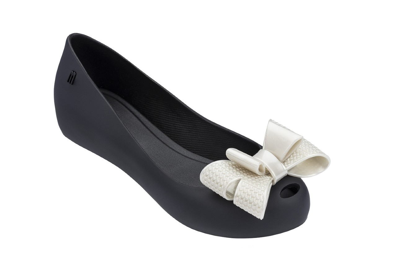 Baleriny melissa ultragirl sweet xv ad black white metalized, czarny/biały, guma - melissa - nasze marki 4
