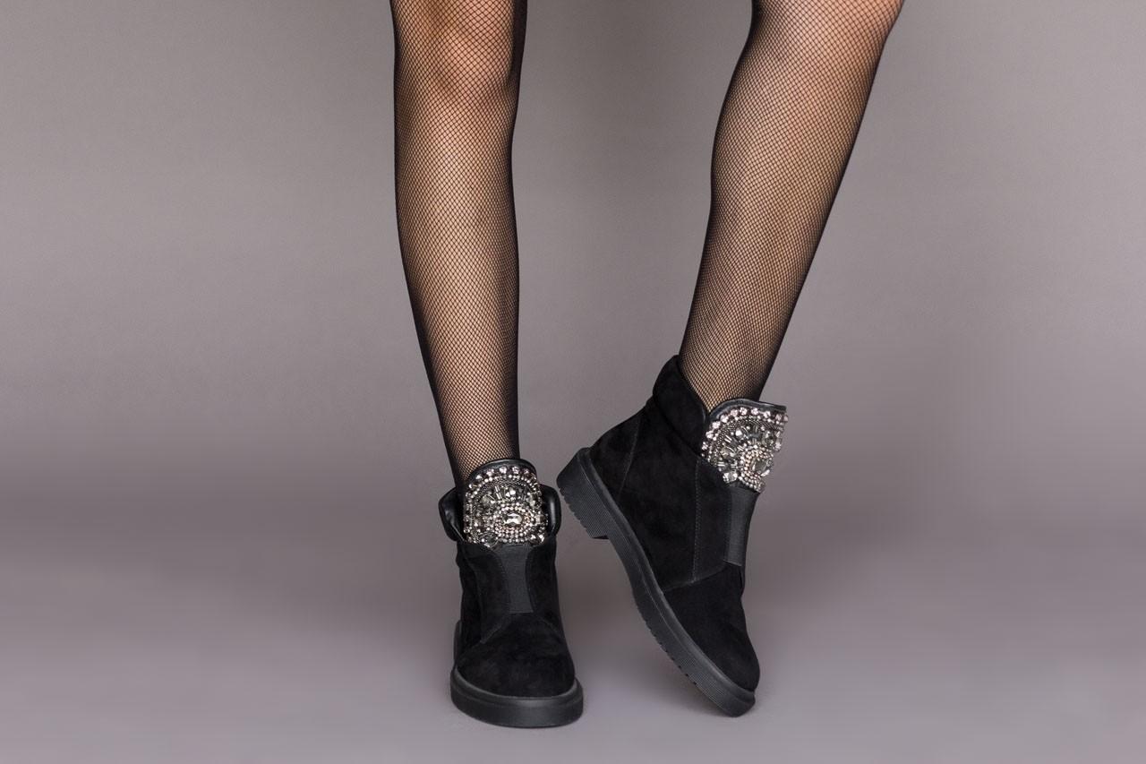 Trzewiki sca'viola f-170 black suede, czarny, skóra naturalna - rozmiar 36 - kobieta - mega okazje - ostatnie rozmiary 10
