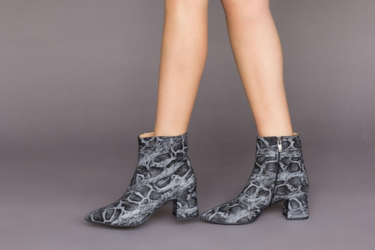 Botki bayla-188 006 jaszczurka szary, skóra naturalna - worker boots - trendy - kobieta 12