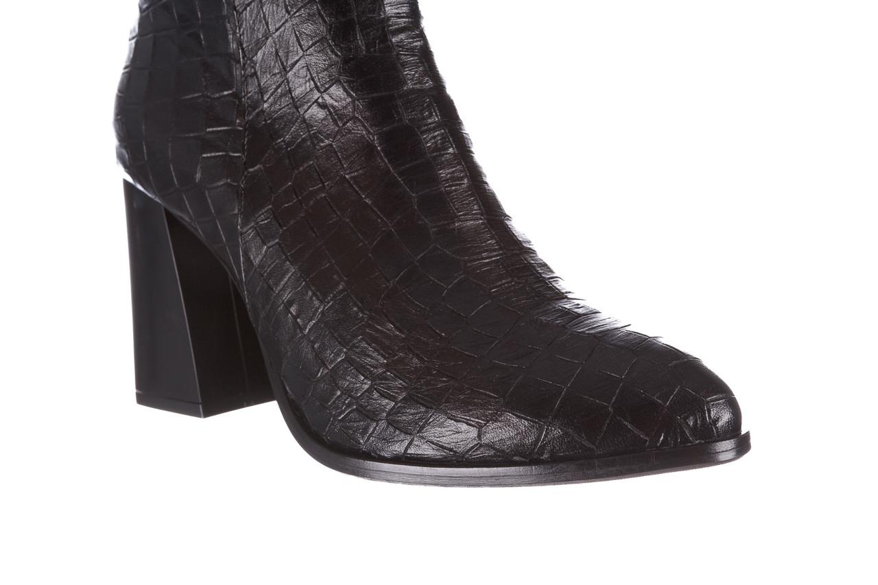 Kozaki bayla-195 20k-7004 black croco 195010, czarny, skóra naturalna  - kozaki - dla niej  - sale 15