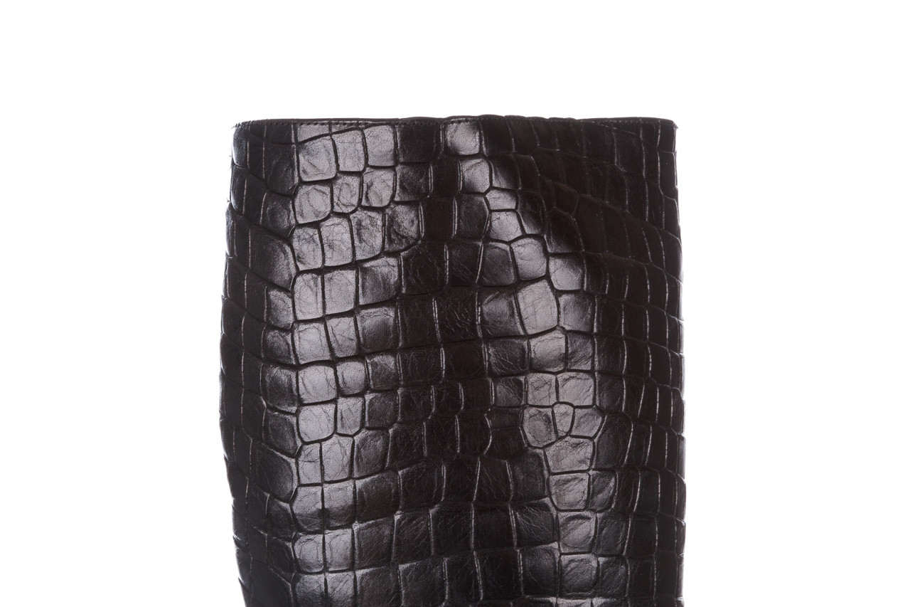 Kozaki bayla-195 20k-7004 black croco 195010, czarny, skóra naturalna  - kozaki - dla niej  - sale 18
