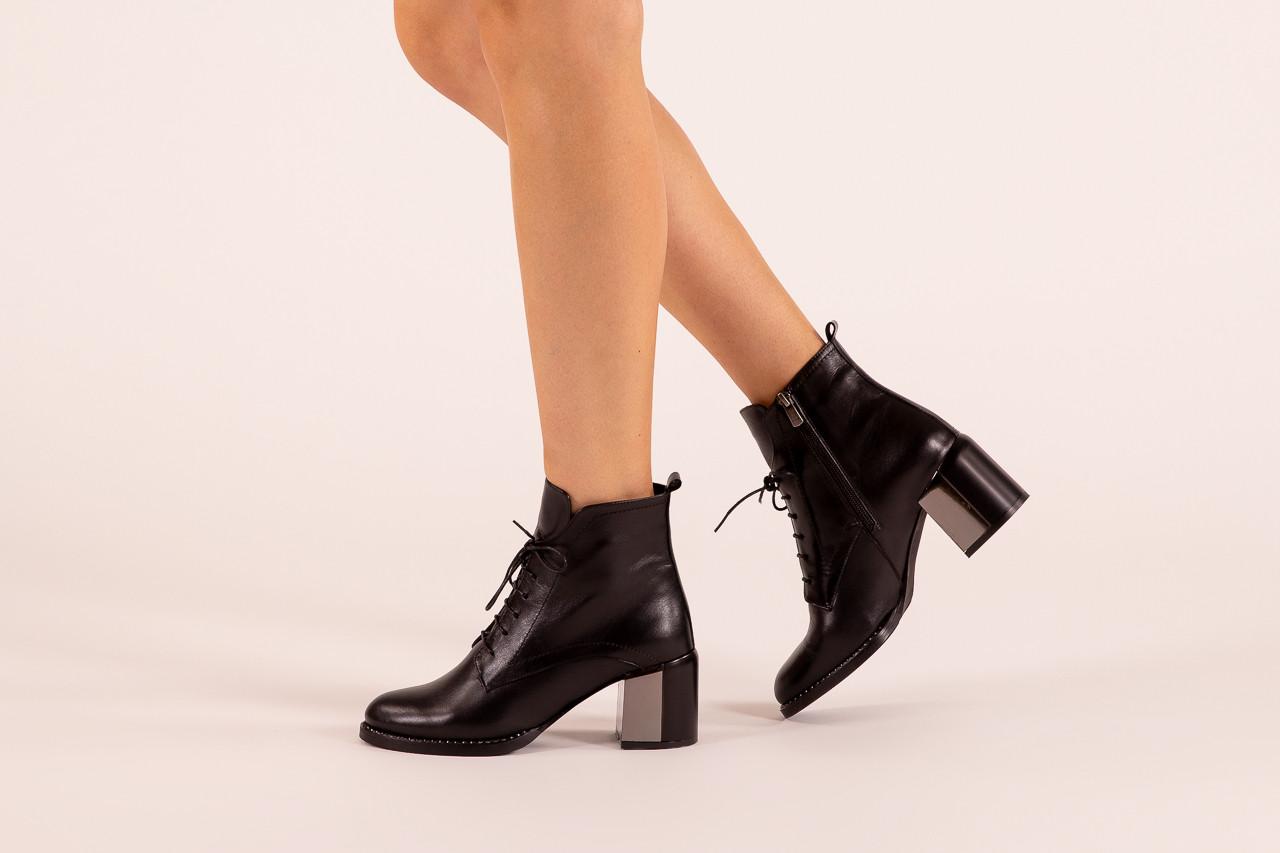 Botki bayla-195 20k-6508 black 195004, czarny, skóra naturalna  - sznurowane - botki - buty damskie - kobieta 13