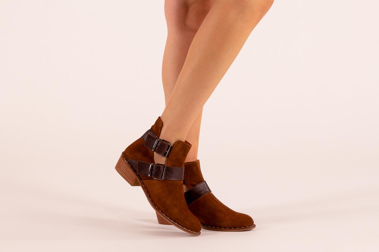 Botki bayla-195 19k-802 vizon brown 195020, brąz, skóra naturalna  - zamszowe - botki - buty damskie - kobieta 14