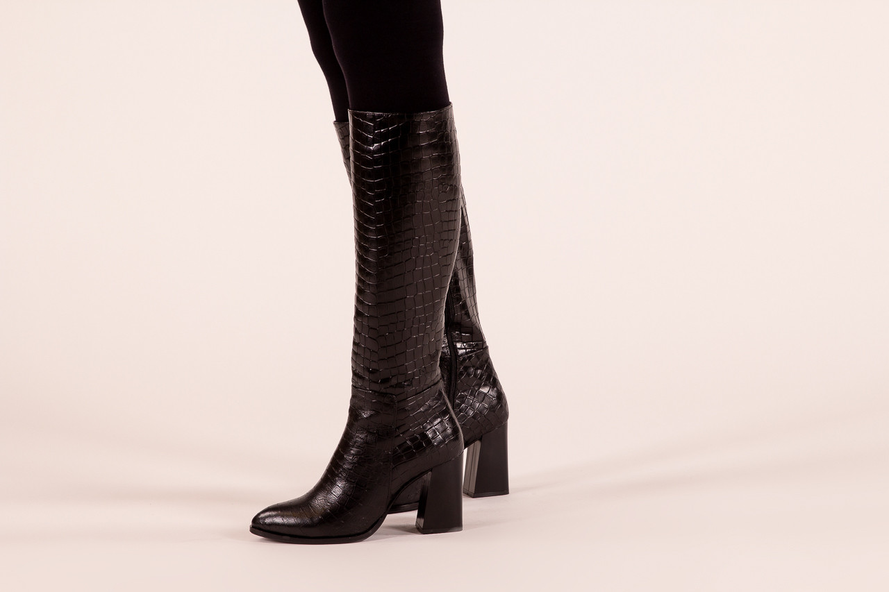 Kozaki bayla-195 20k-7004 black croco 195010, czarny, skóra naturalna  - kozaki - buty damskie - kobieta 12