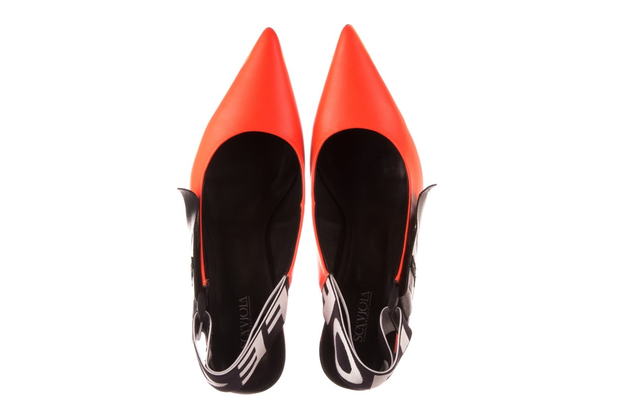 Czółenka sca'viola e-44 orange, pomarańczowy/ czarny, skóra naturalna - na słupku - czółenka - buty damskie - kobieta 14