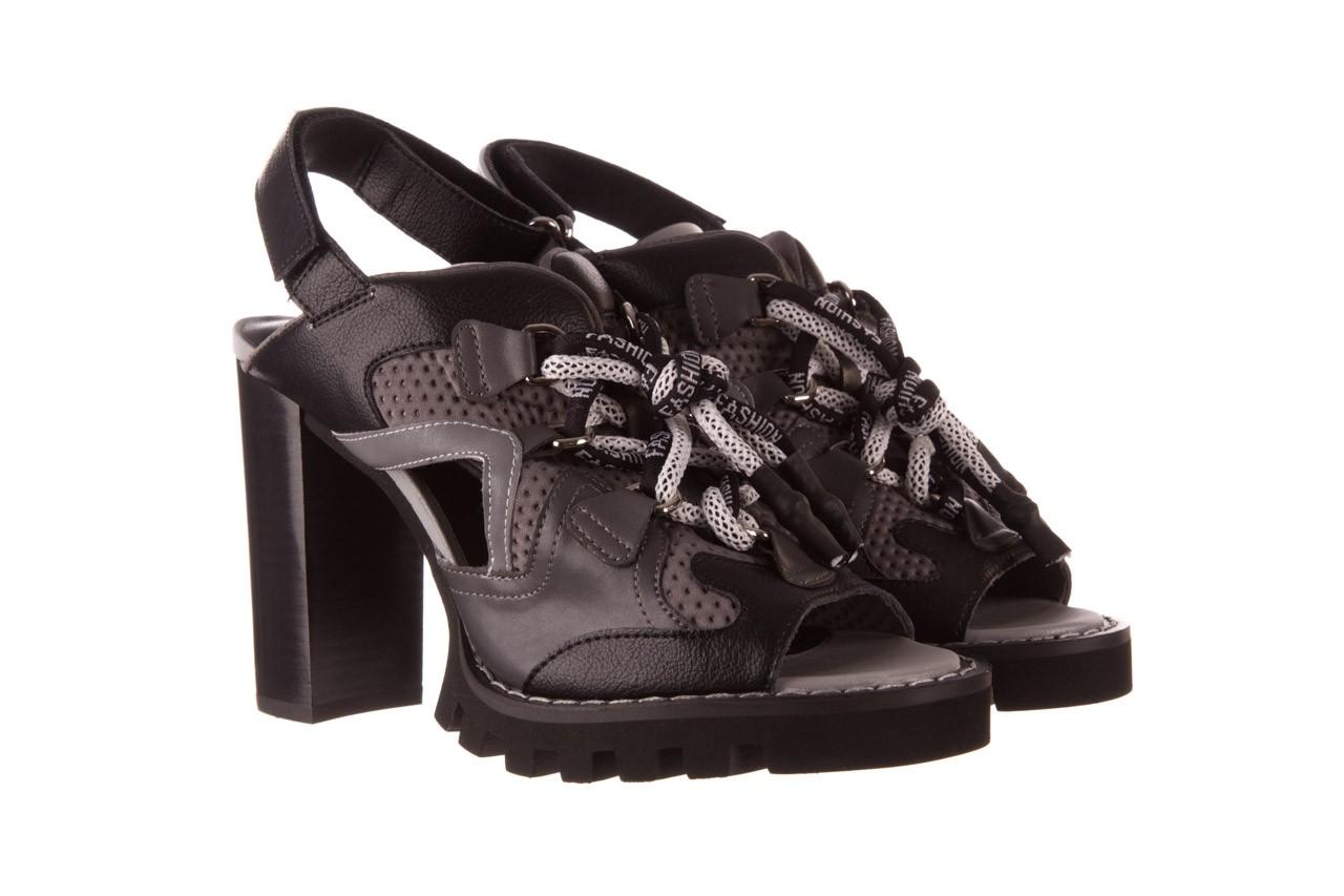 Sandały sca'viola e-34 d. grey-black, szary/ czarny, skóra naturalna  - na obcasie - sandały - buty damskie - kobieta 10