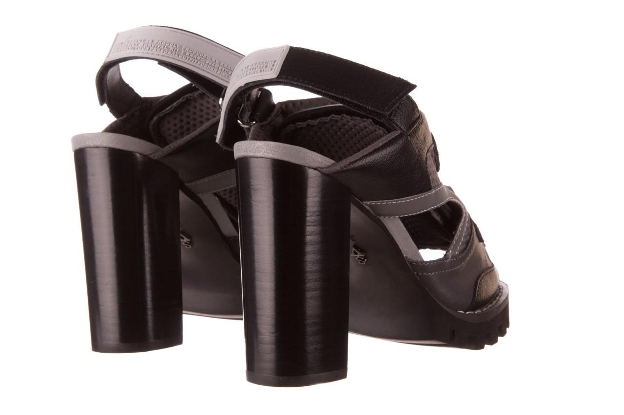 Sandały sca'viola e-34 d. grey-black, szary/ czarny, skóra naturalna  - na obcasie - sandały - buty damskie - kobieta 12