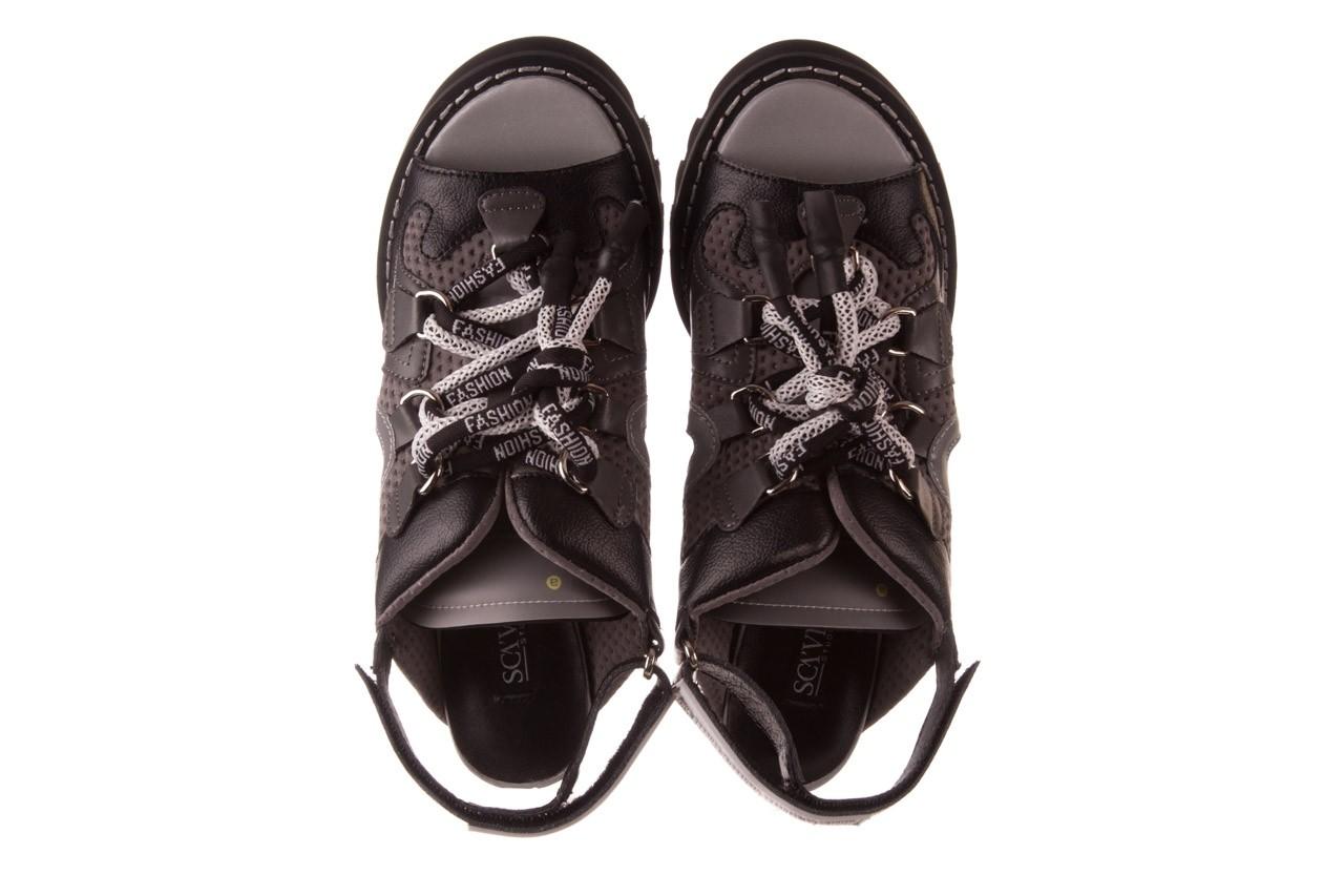 Sandały sca'viola e-34 d. grey-black, szary/ czarny, skóra naturalna  - na obcasie - sandały - buty damskie - kobieta 13