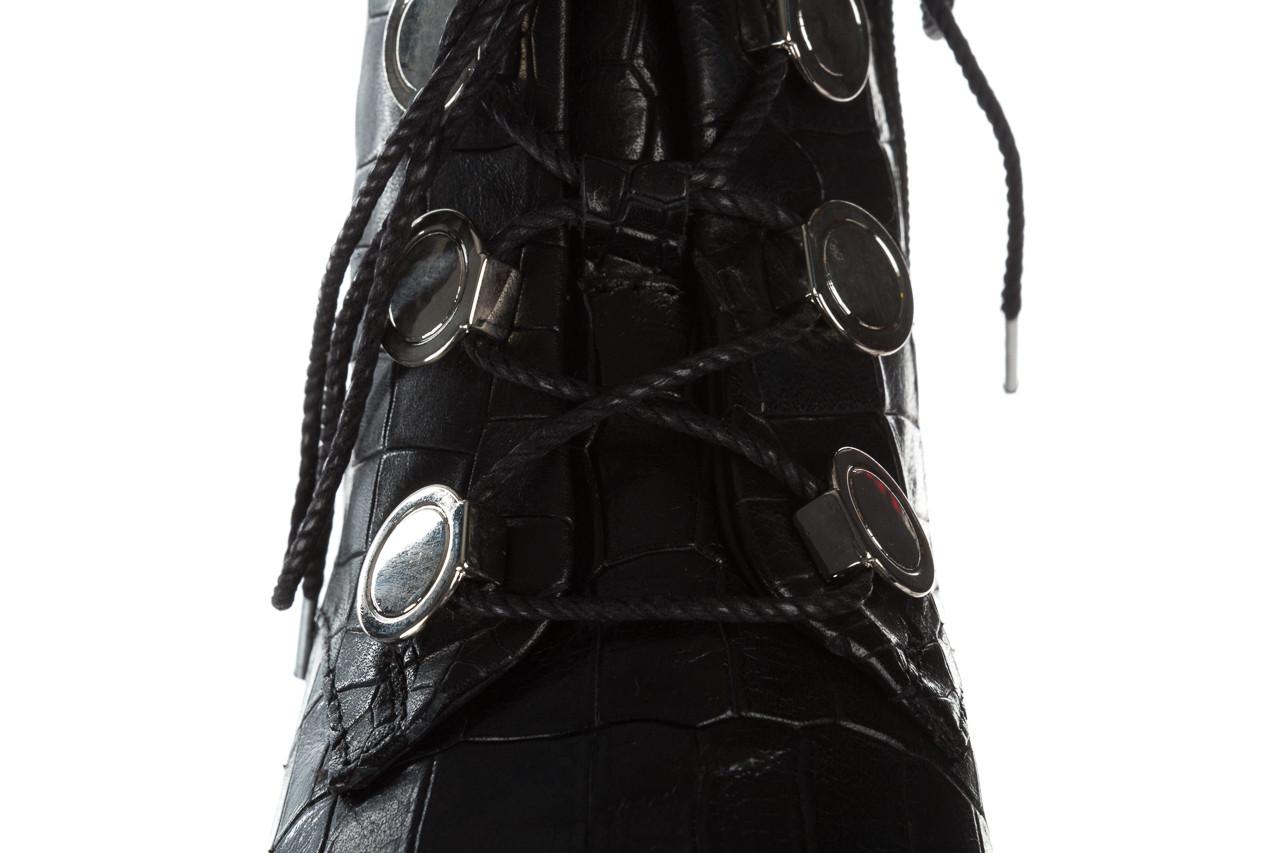 Trzewiki bayla 161 050 7263 3085 black croco 161178, czarny, skóra naturalna  - kobieta 20