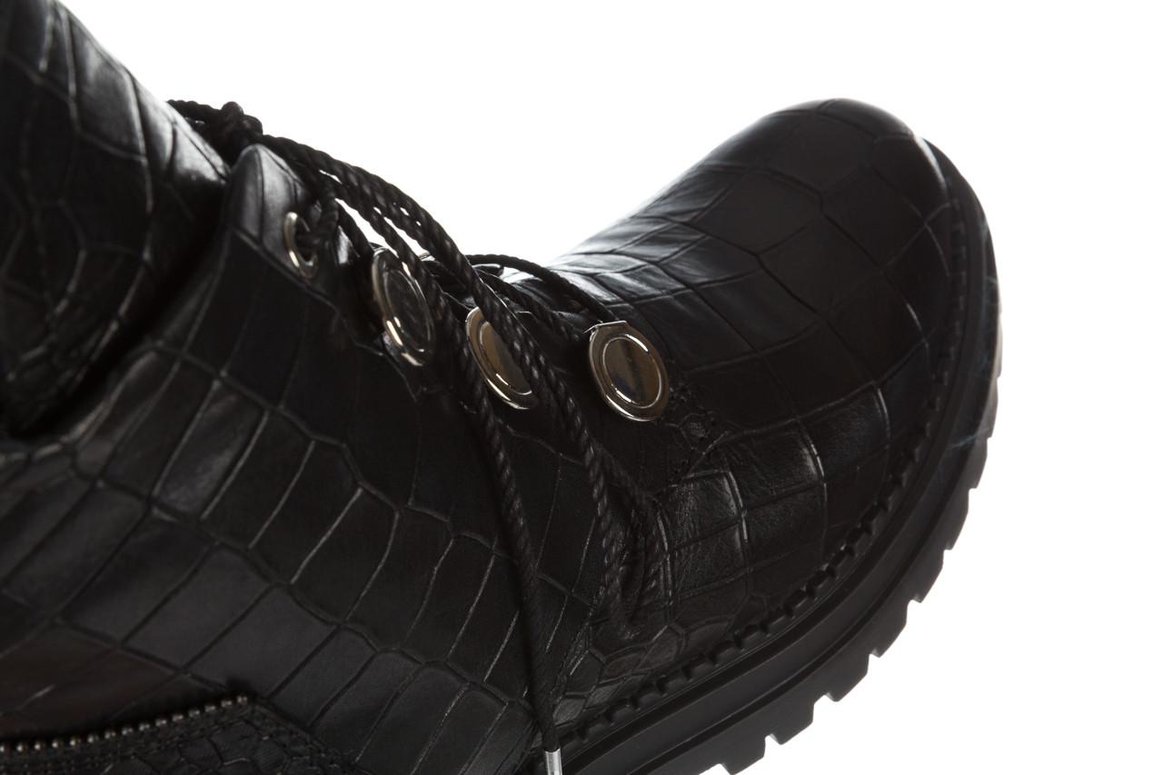 Trzewiki bayla 161 050 7263 3085 black croco 161178, czarny, skóra naturalna  - kobieta 24