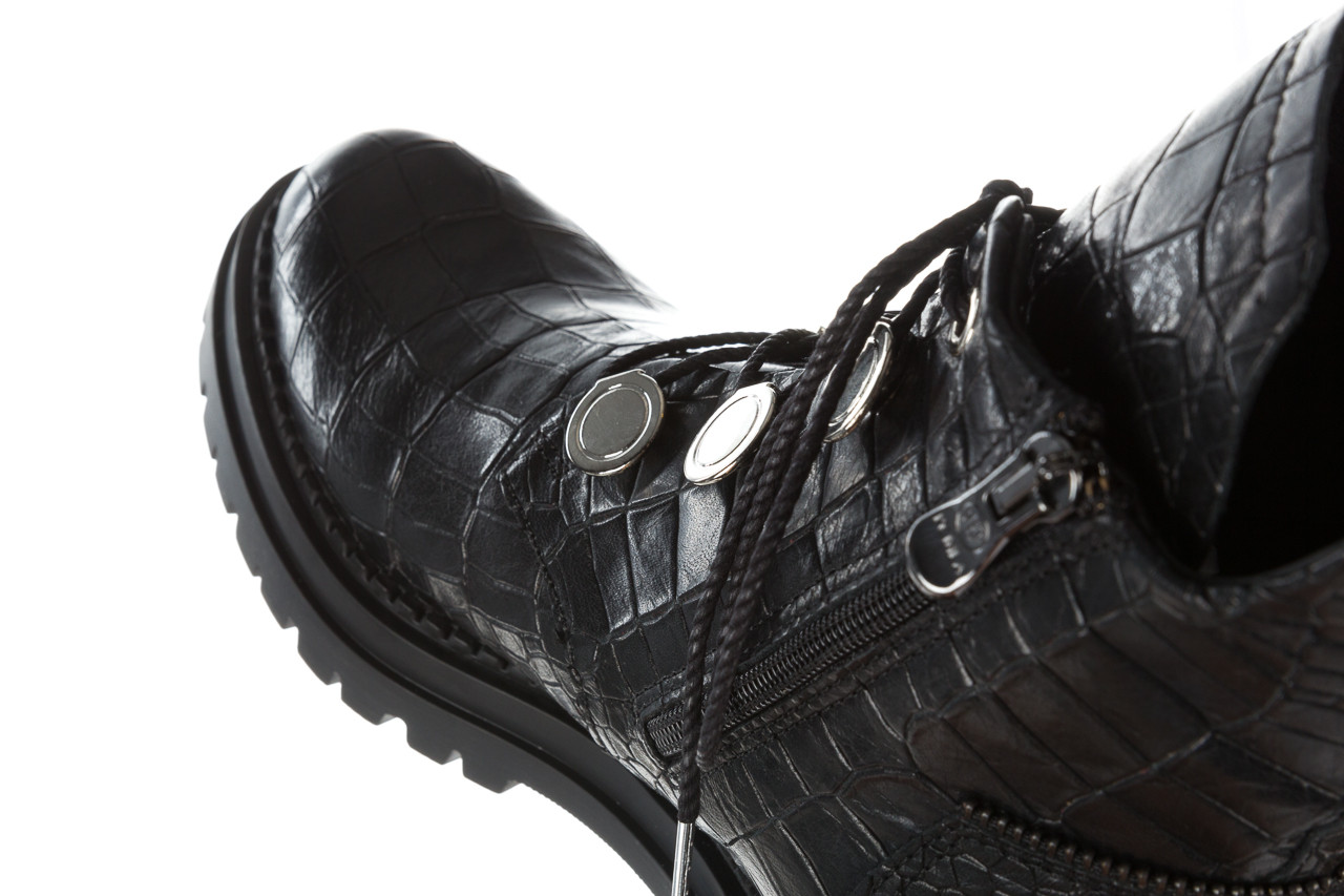 Trzewiki bayla 161 050 7263 3085 black croco 161178, czarny, skóra naturalna  - kobieta 25