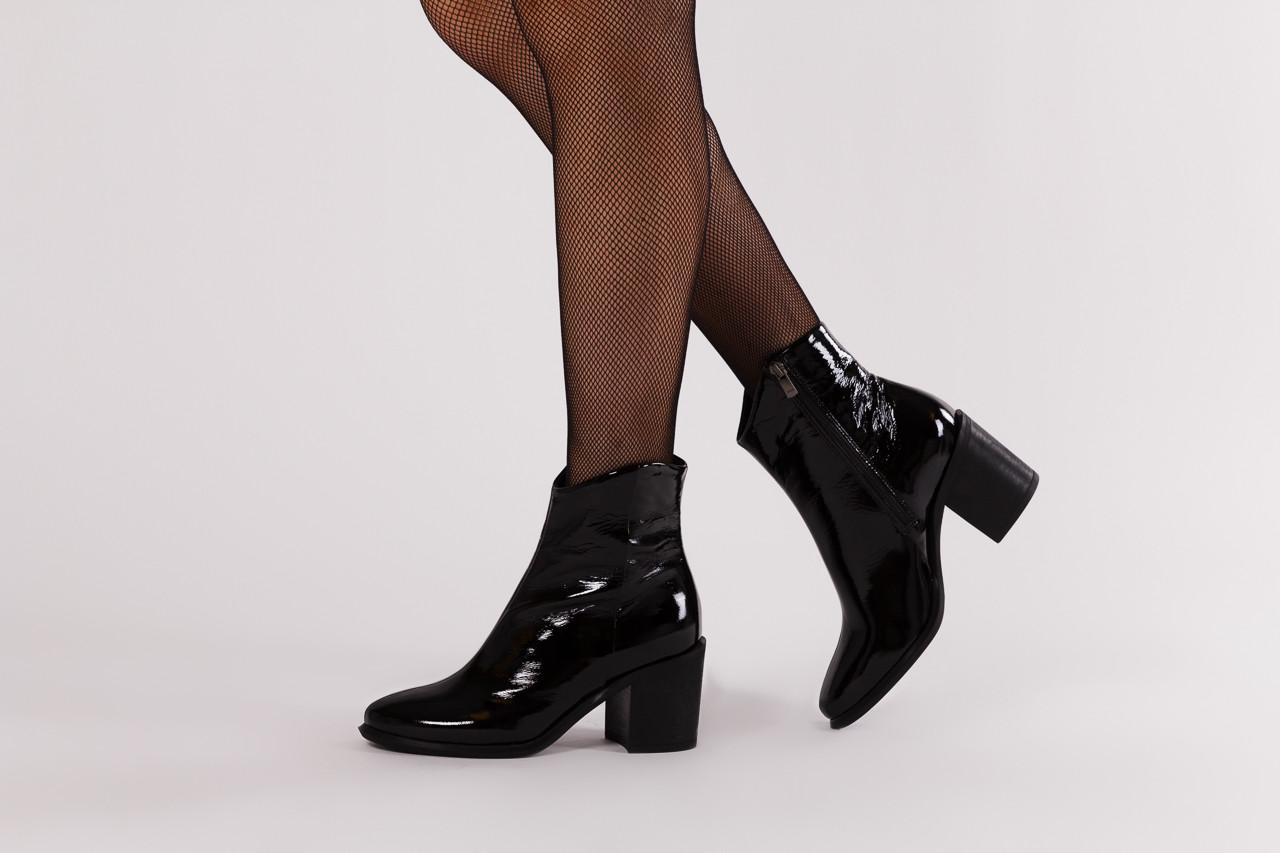 Botki bayla 161 050 022 400 black patent 161167, czarny, skóra naturalna lakierowana  - kobieta 10