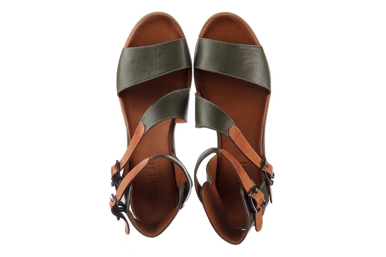 Sandały bayla-161 061 1605 dark olive tan, zielony, skóra naturalna - koturny - buty damskie - kobieta 12
