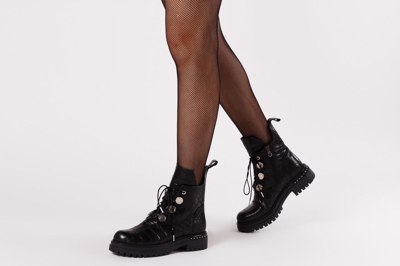 Trzewiki bayla 161 050 7263 3085 black croco 161178, czarny, skóra naturalna  - kobieta 15