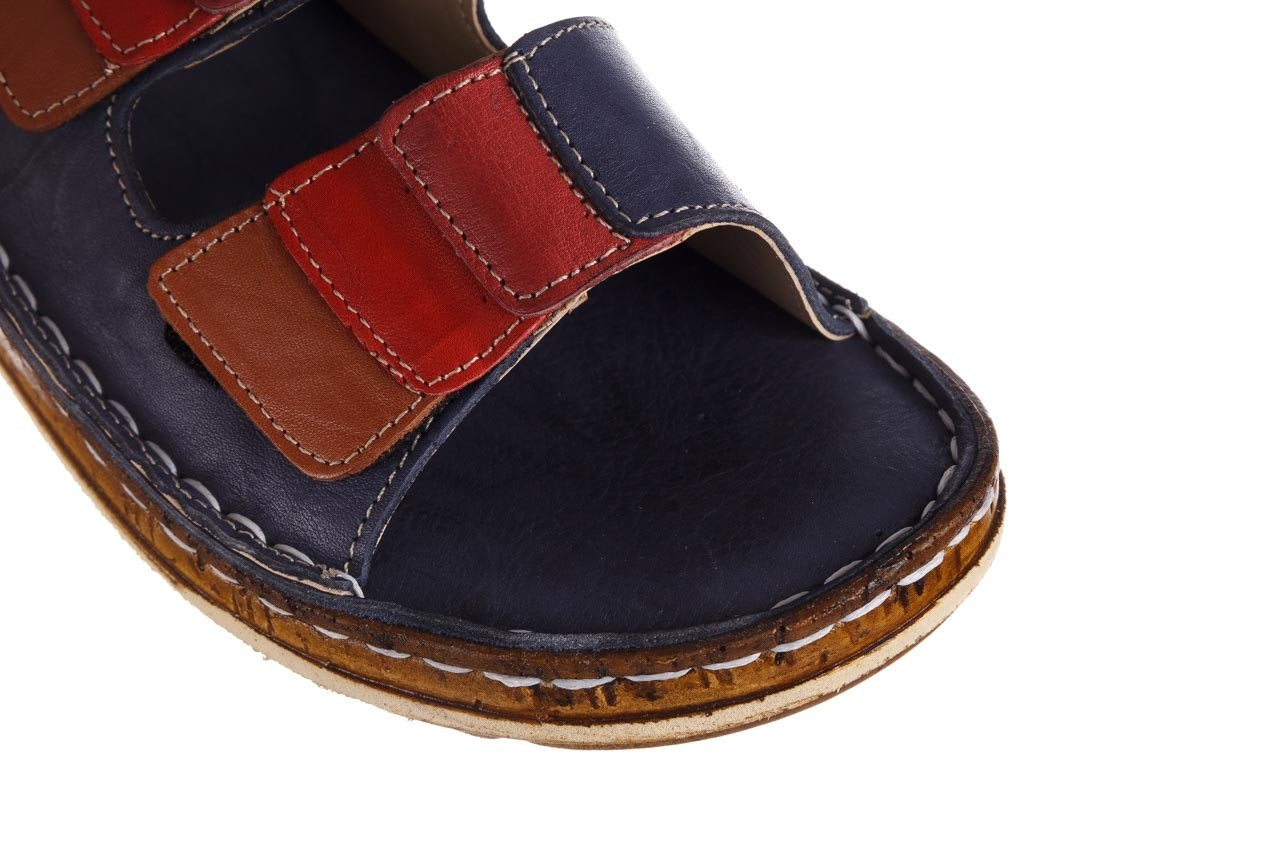 Klapki bayla-161 016 109 navy brown red bordo, granat, skóra naturalna  - klapki - dla niej  - sale 13