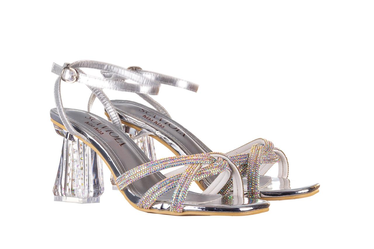 Sandały sca'viola g-66 silver 047178, srebro, skóra naturalna  - na obcasie - sandały - buty damskie - kobieta 9