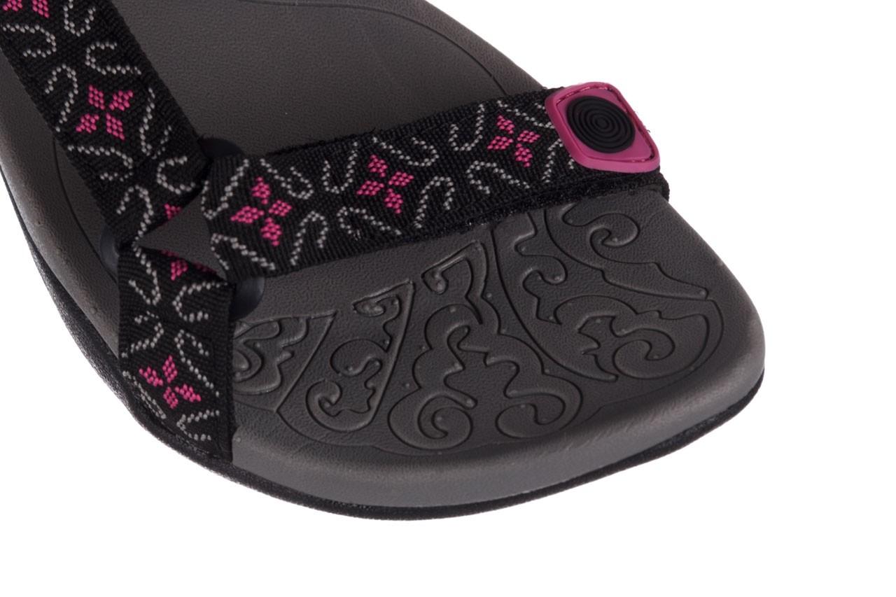 Sandały rock vinay black fuchsia, czarny/ róż, materiał 12