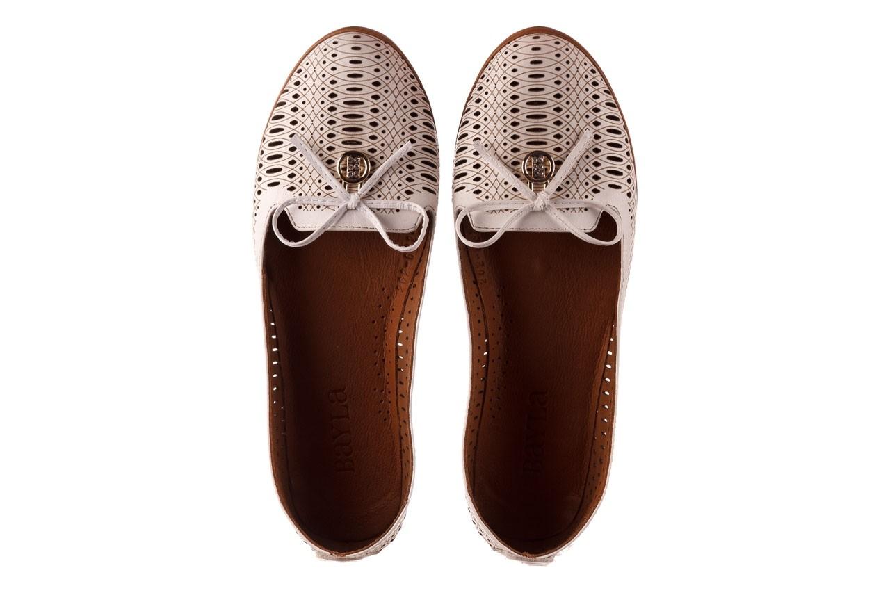 Baleriny bayla-190 262 632 34, biały, skóra naturalna  - ślubne - baleriny - buty damskie - kobieta 12