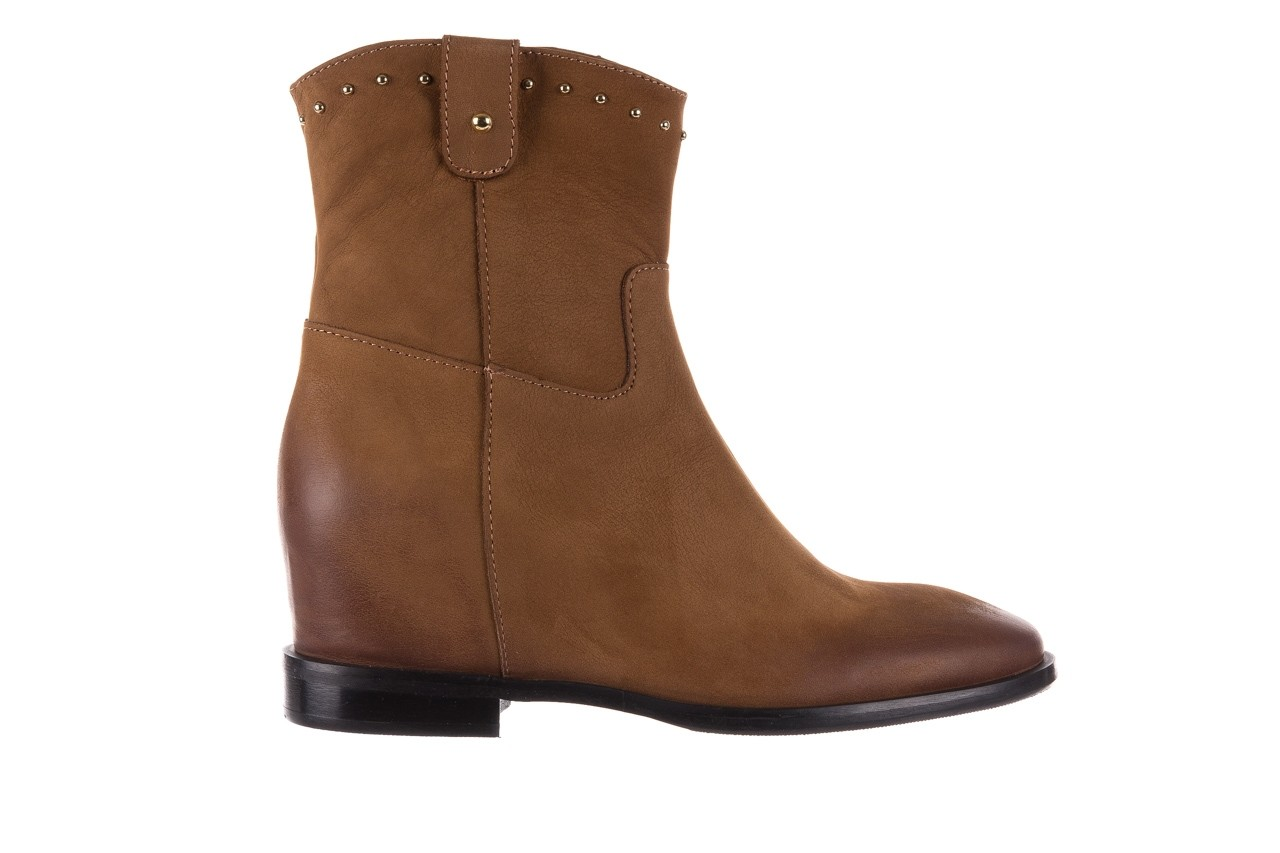 Botki bayla-170 2126 brązowe botki, skóra naturalna - koturny - buty damskie - kobieta 8