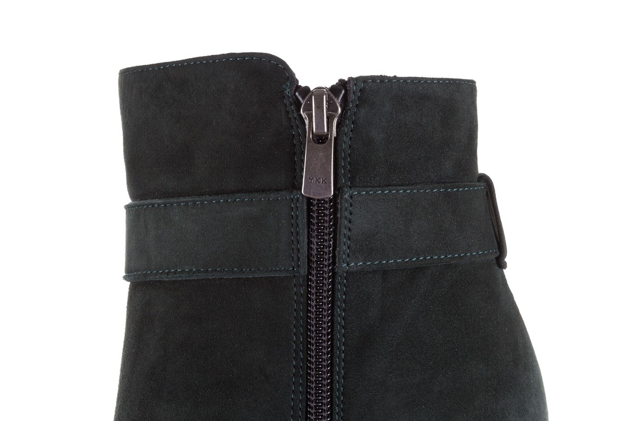 Botki bayla-182 18429 zielone na obcasie, skóra naturalna - worker boots - trendy - kobieta 17