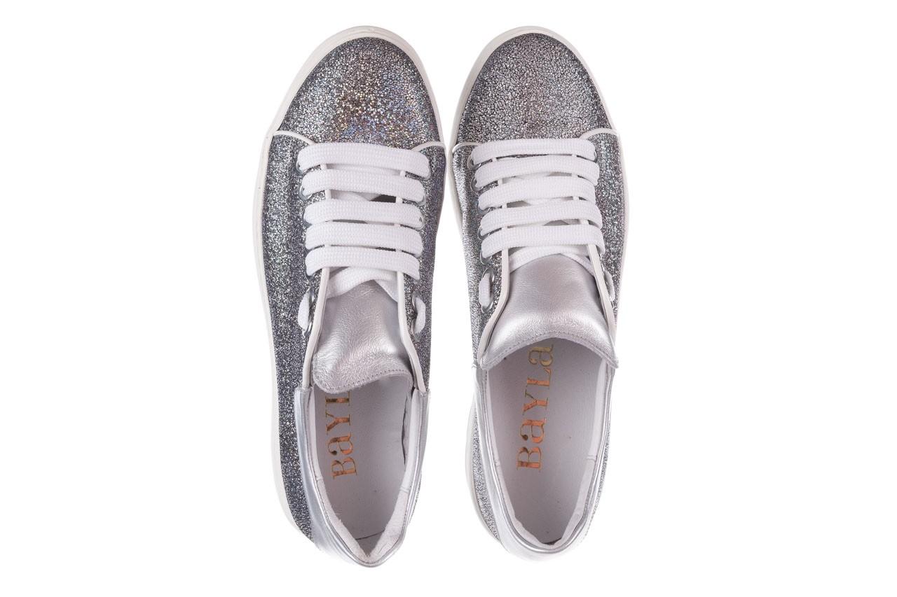 Trampki bayla-185 185 102 srebrny, skóra naturalna  - skórzane - trampki - buty damskie - kobieta 11