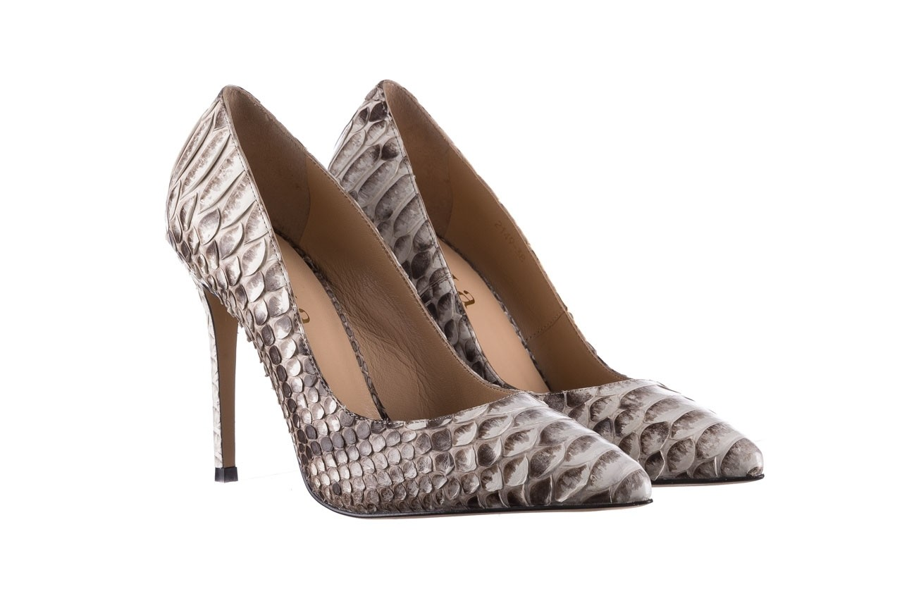 Szpilki bayla-182 2149 jasnoszare łuska, skóra naturalna  - skórzane - szpilki - buty damskie - kobieta 8