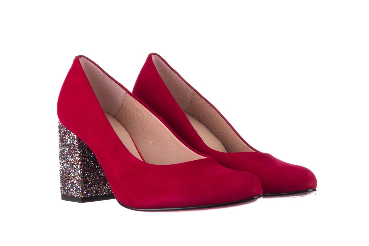Czółenka bayla-056 7063-1432 bordo glitter, skóra naturalna  - do szpica - szpilki - buty damskie - kobieta 7