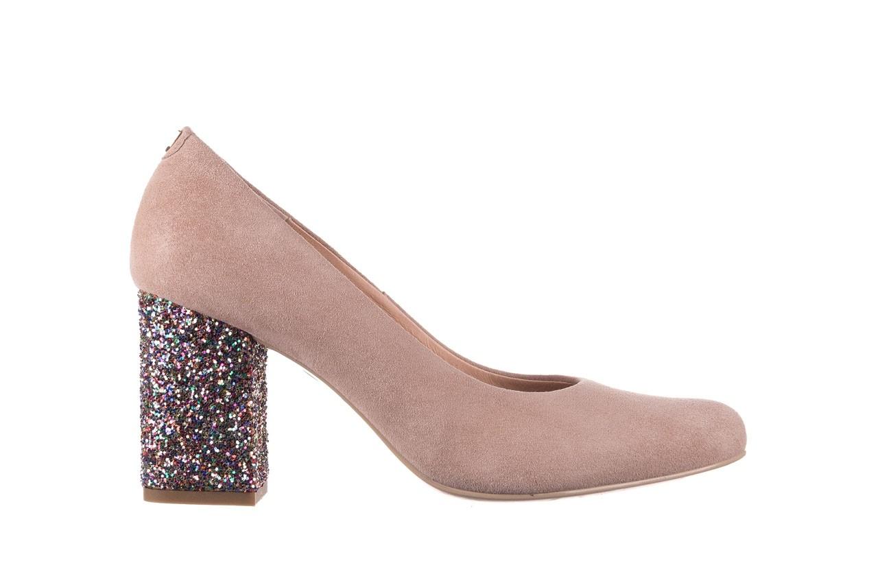 Czółenka bayla-056 7063-140 beż glitter, skóra naturalna  - zamszowe - szpilki - buty damskie - kobieta 6