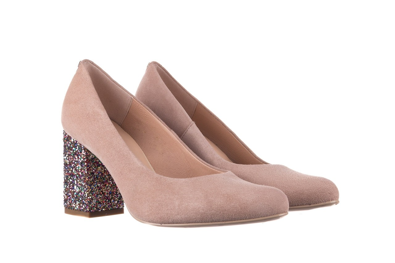 Czółenka bayla-056 7063-140 beż glitter, skóra naturalna  - zamszowe - szpilki - buty damskie - kobieta 7
