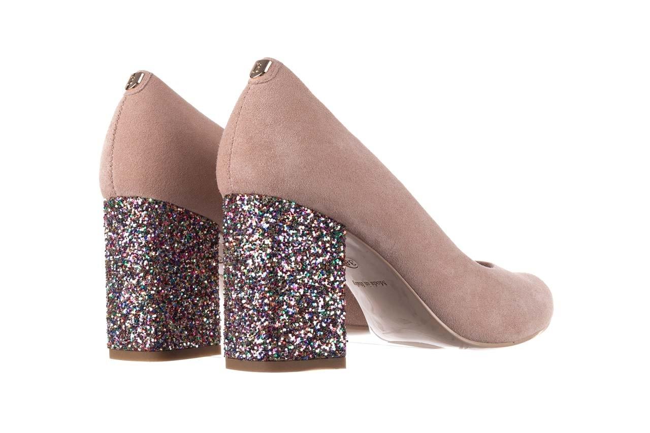 Czółenka bayla-056 7063-140 beż glitter, skóra naturalna  - zamszowe - szpilki - buty damskie - kobieta 9