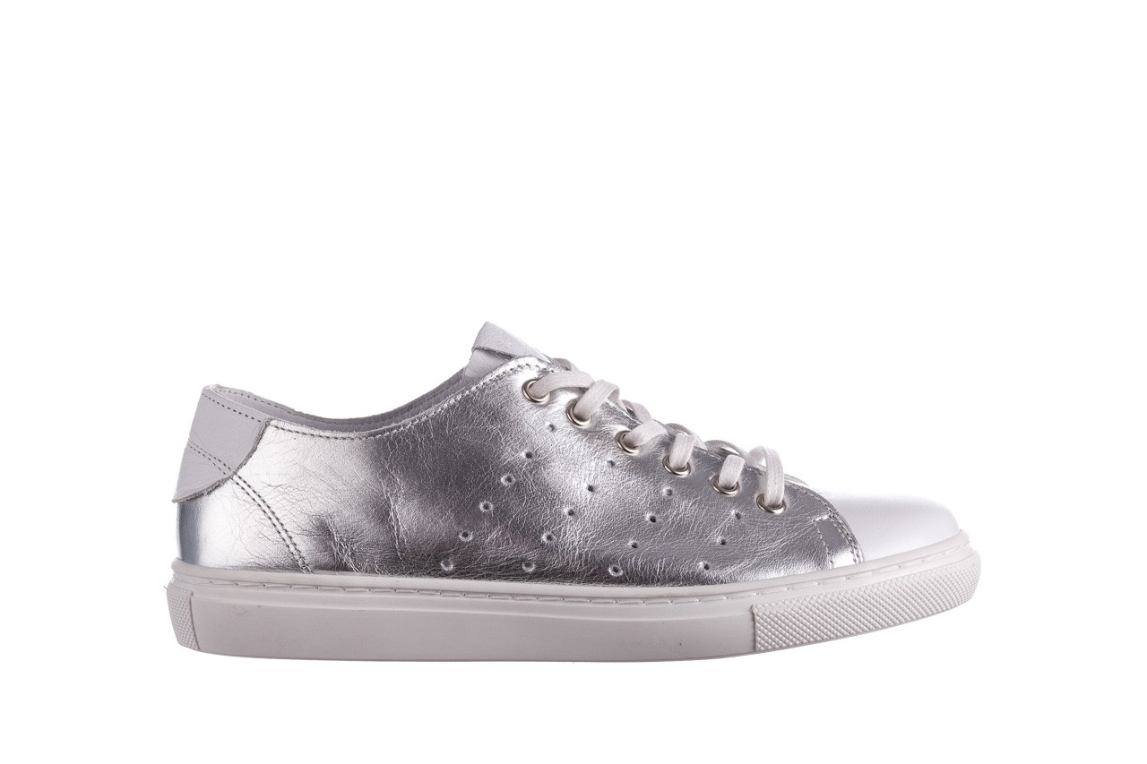 Trampki bayla-161 093 90135 srebrny biały 161048, skóra naturalna  - trampki - buty damskie - kobieta 8