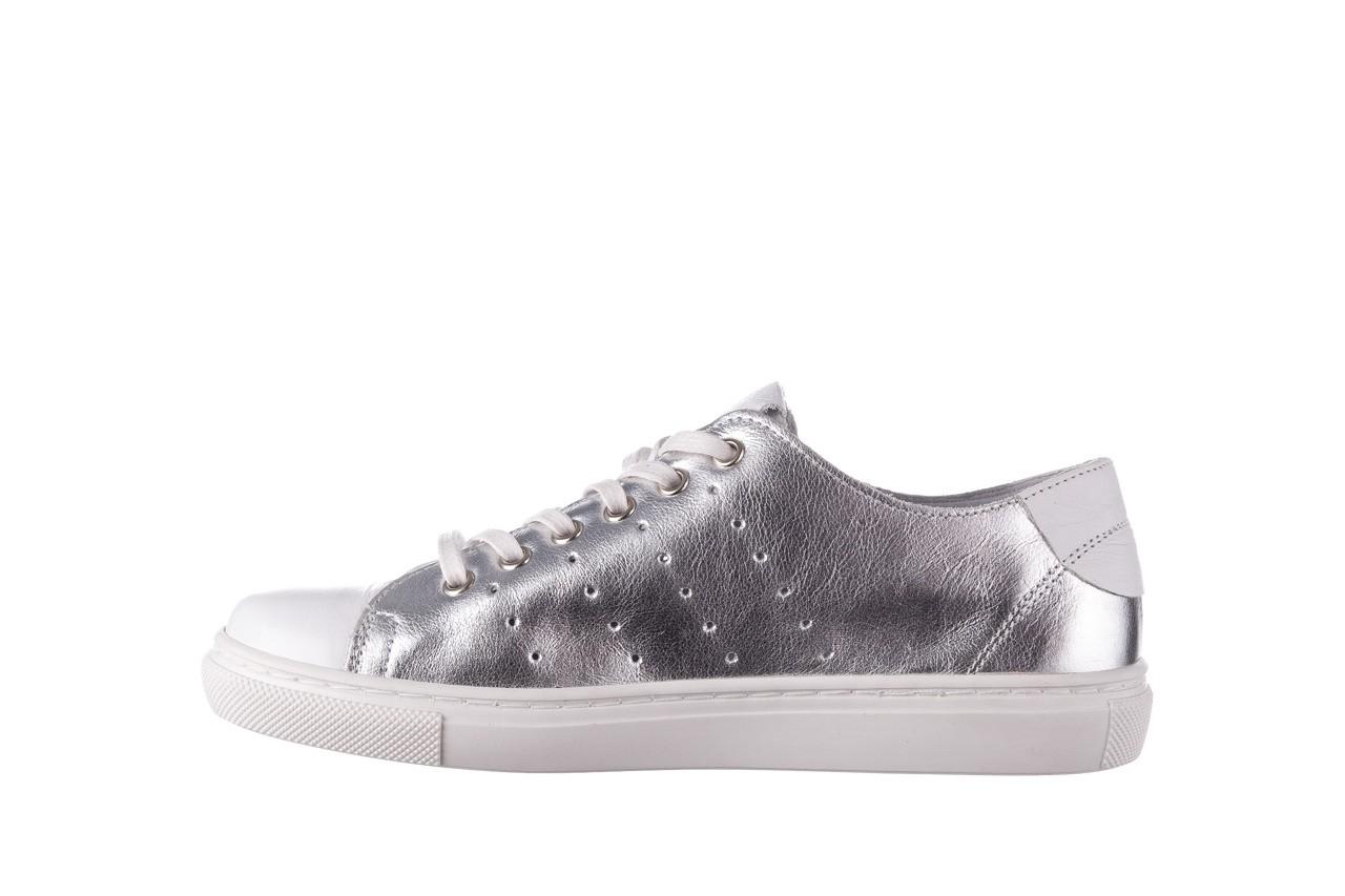 Trampki bayla-161 093 90135 srebrny biały 161048, skóra naturalna  - trampki - buty damskie - kobieta 10