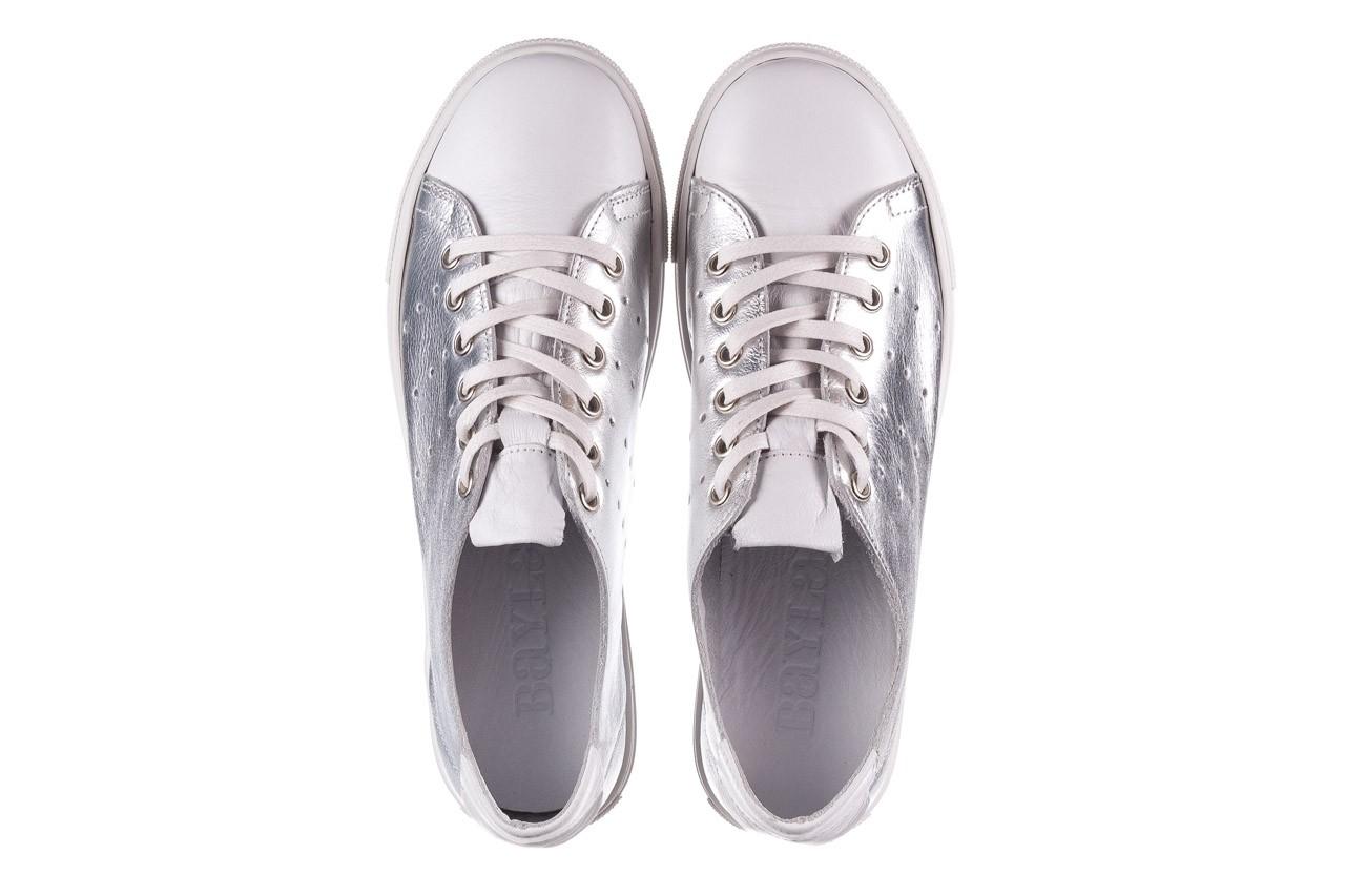 Trampki bayla-161 093 90135 srebrny biały 161048, skóra naturalna  - trampki - buty damskie - kobieta 12