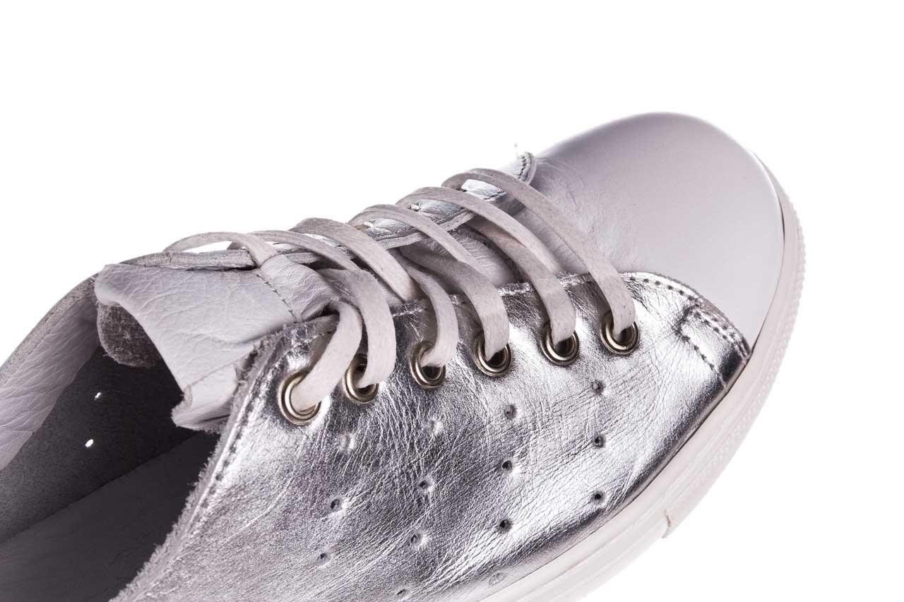Trampki bayla-161 093 90135 srebrny biały 161048, skóra naturalna  - trampki - buty damskie - kobieta 15