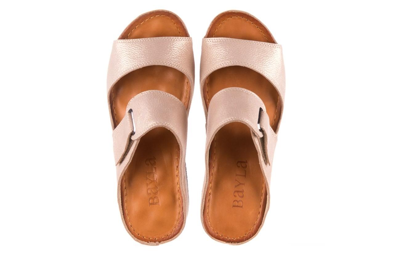 Klapki bayla-112 0001-428-bs43 beż, skóra naturalna  - na koturnie - klapki - buty damskie - kobieta 11