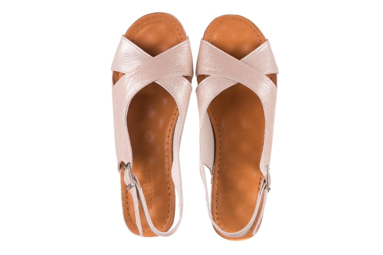 Sandały bayla-112 0158-58 beż, skóra naturalna  - na koturnie - sandały - buty damskie - kobieta 11
