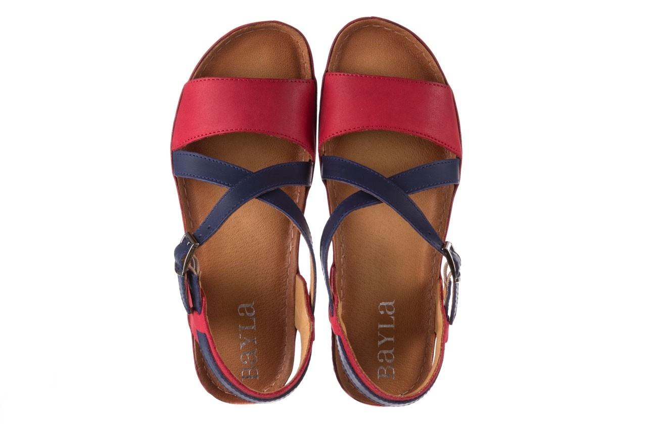 Sandały bayla-100 420 niebieski czerwony, skóra naturalna  - bayla - nasze marki 11