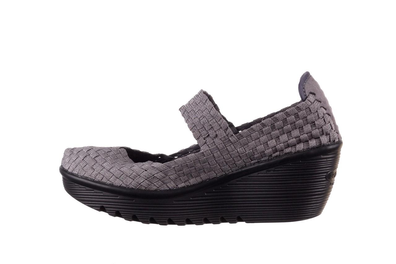 Półbuty rock brasil 2 grey silver lines, szary, materiał - koturny - buty damskie - kobieta 10