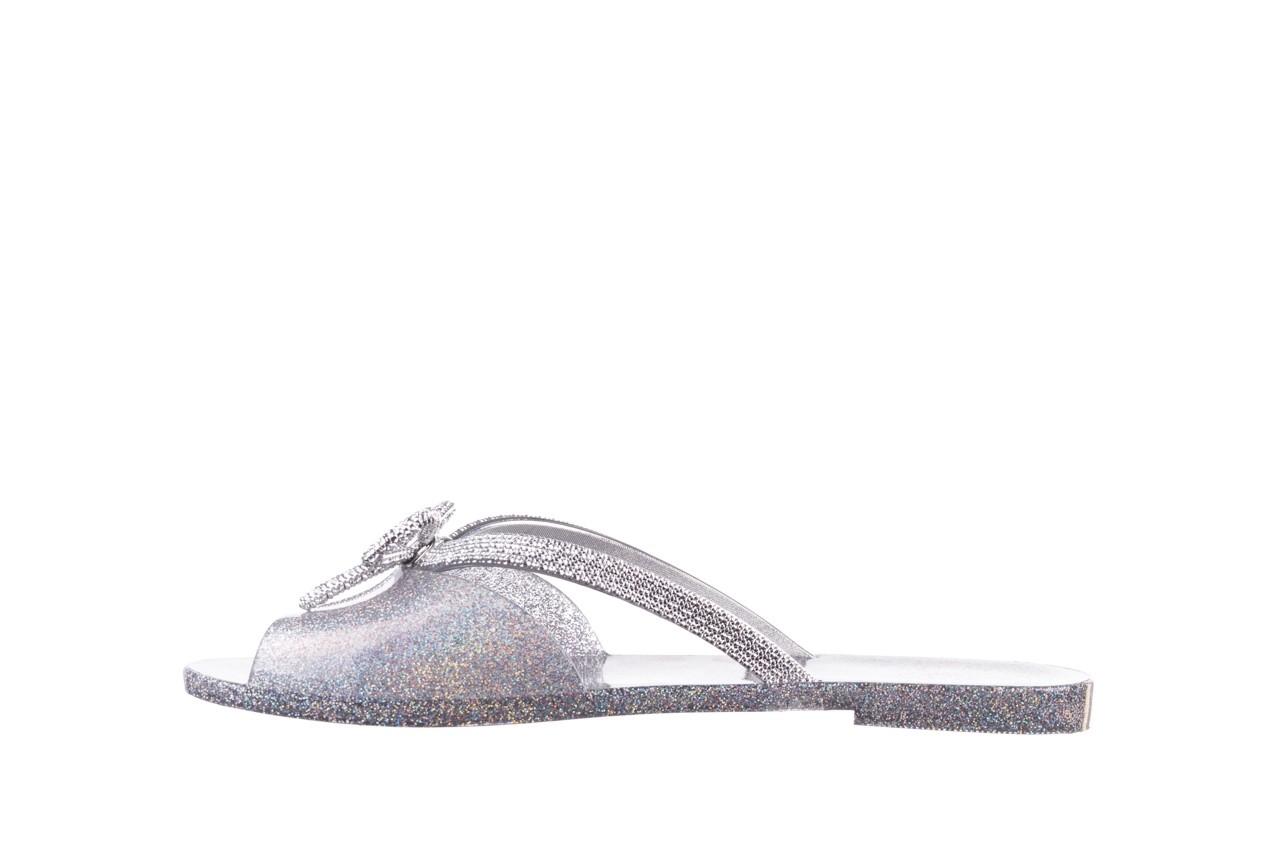 Klapki melissa ela chrome ad holographic glitter, srebrny, guma 9