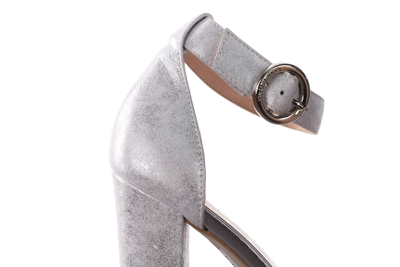 Sandały bayla-056 8024-1089 srebrny, skóra naturalna  - na obcasie - sandały - buty damskie - kobieta 14