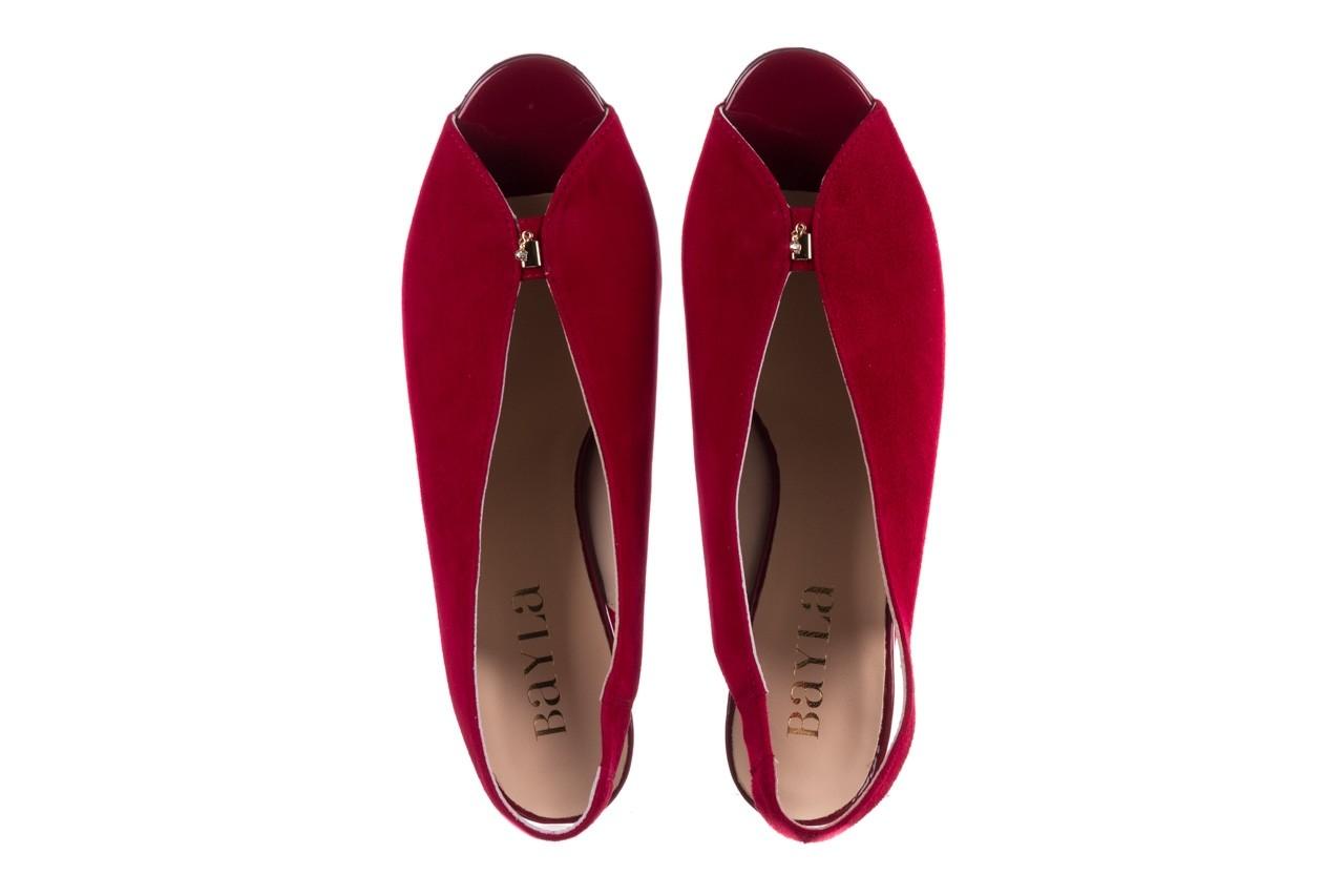 Sandały bayla-056 8097-1432 bordo zamsz, skóra naturalna  - dla niej  - sale 11
