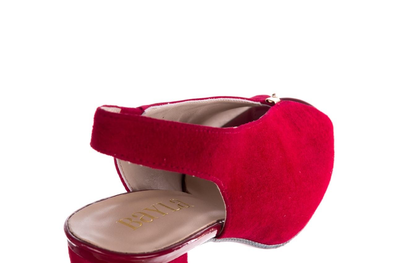 Sandały bayla-056 8097-1432 bordo zamsz, skóra naturalna  - dla niej  - sale 13
