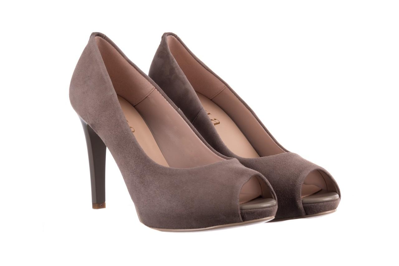 Szpilki bayla-056 9134-1318 szary zamsz, skóra naturalna  - peep toe - szpilki - buty damskie - kobieta 9
