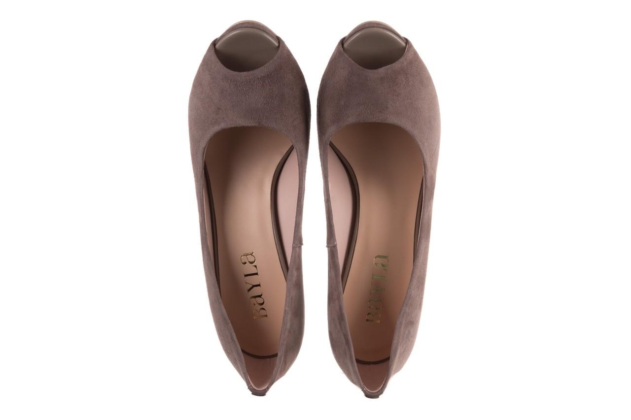 Szpilki bayla-056 9134-1318 szary zamsz, skóra naturalna  - peep toe - szpilki - buty damskie - kobieta 12