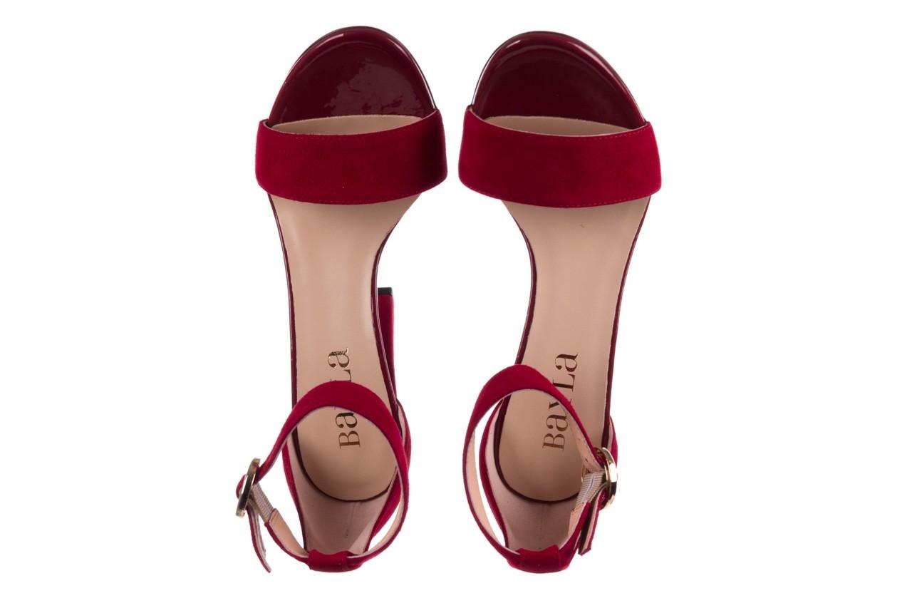 Sandały bayla-056 8024-1432 burgund zamsz, skóra naturalna 11