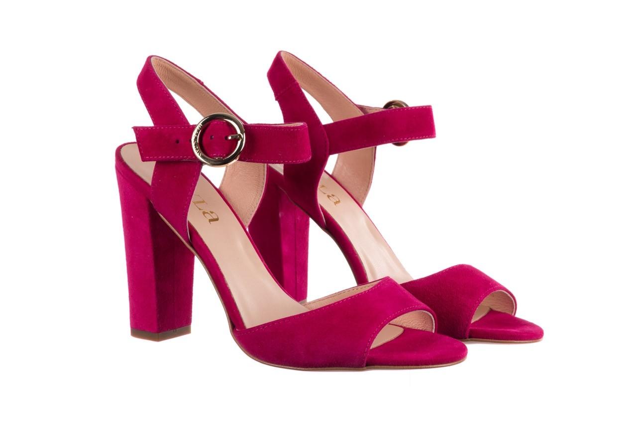 Sandały bayla-056 8023-1311 fuksja zamsz, skóra naturalna  - na obcasie - sandały - buty damskie - kobieta 8