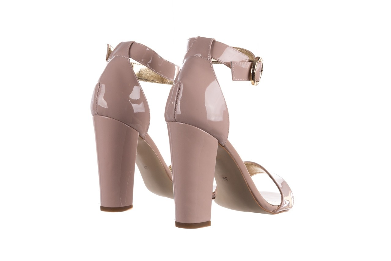 Sandały bayla-056 8024-430 beż lakier, skóra naturalna  - na obcasie - sandały - buty damskie - kobieta 10