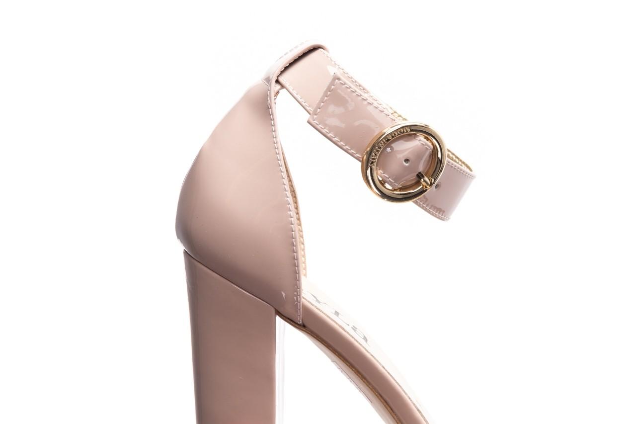 Sandały bayla-056 8024-430 beż lakier, skóra naturalna  - na obcasie - sandały - buty damskie - kobieta 12