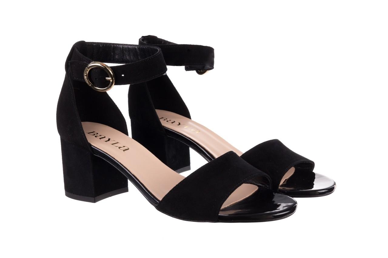 Sandały bayla-056 7049-21 czarny zamsz, skóra naturalna  - na obcasie - sandały - buty damskie - kobieta 8